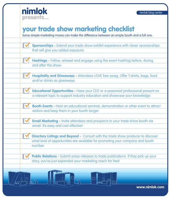 Checklist For Exhibition Booth : Trade show exhibit marketing checklist ️