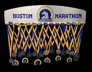 boston marathon blue diamond athletic display