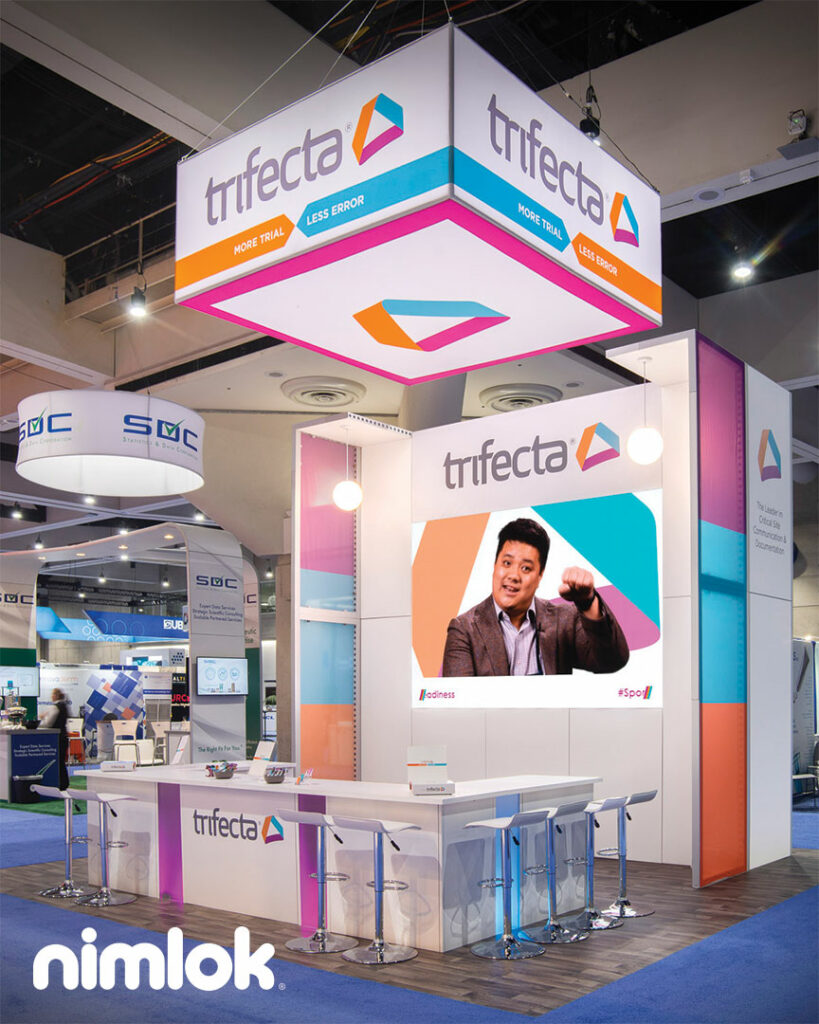 make your booth stand out like this booth with bright vibrant graphics and led lighting