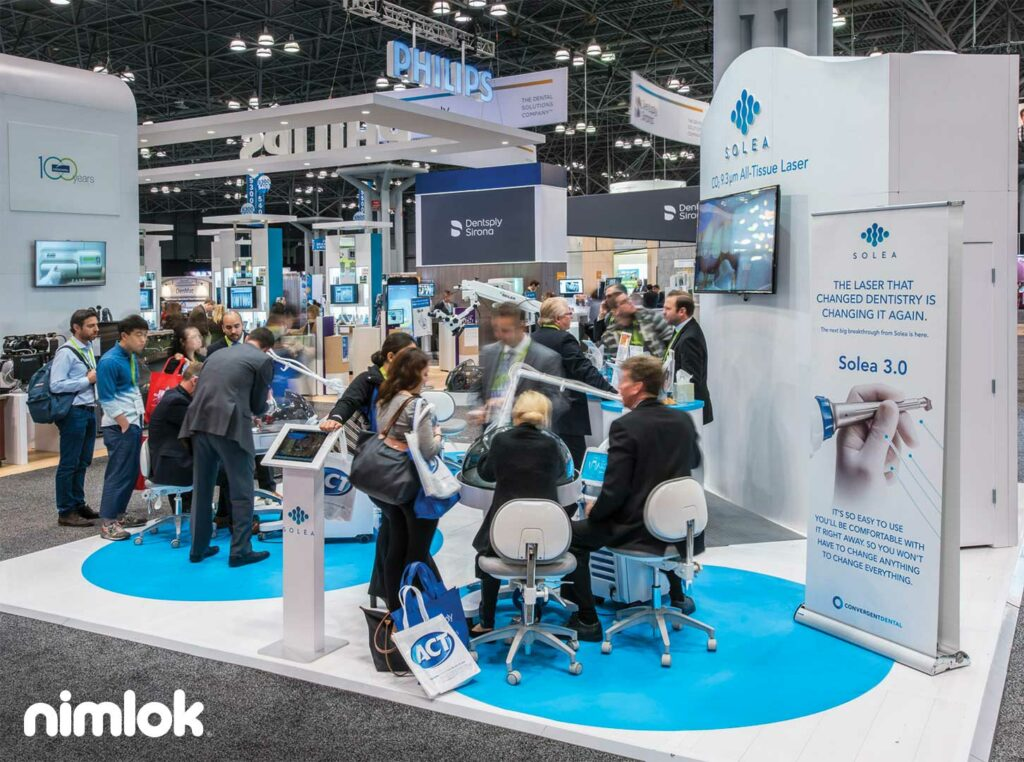 Qualified Trade Show Leads (people) visiting a trade show booth