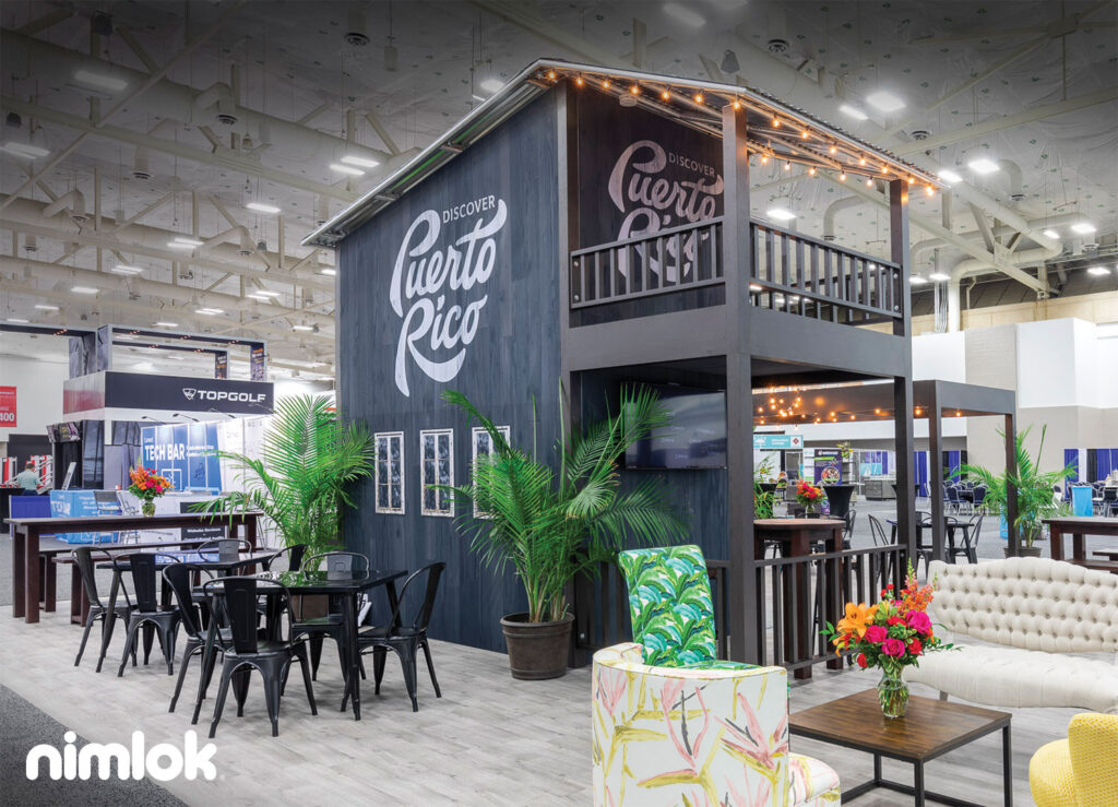 Beautiful booth design incorporating trade show success tips.